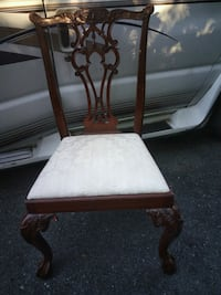 brown wooden framed white padded chair Washington, 20018