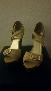 pair of brown leather open-toe ankle strap heels 1455 mi