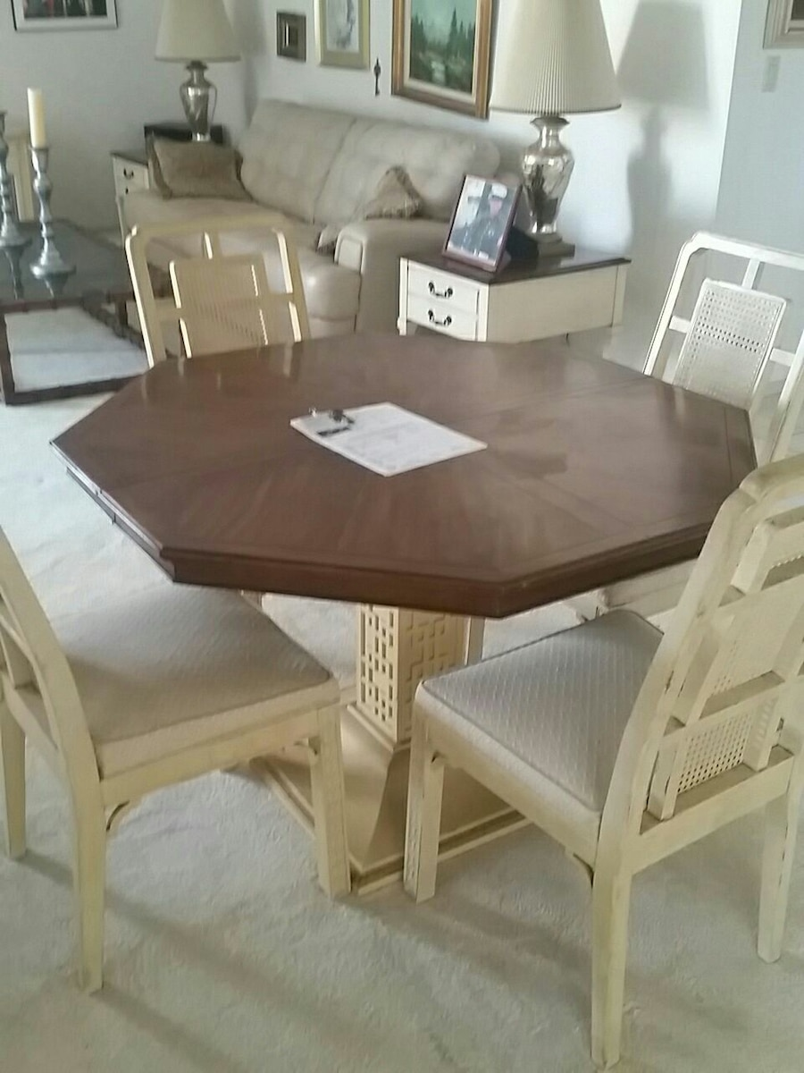 used brown and gray wooden dining table with parson chairs set for rh us letgo com