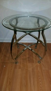 Silver, glass end table set (2) New Castle, 19720