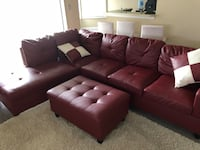 Red leather sectional sofa 43 km