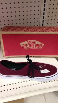 red and white Vans Authentic shoe with box Merced, 95348