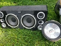 black and gray subwoofer speaker 20 mi