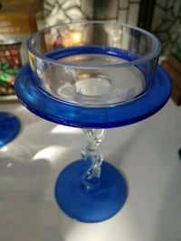blue and clear glass footed bowl Edmonton