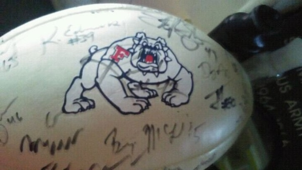 autographed white Bulldogs NFL ball