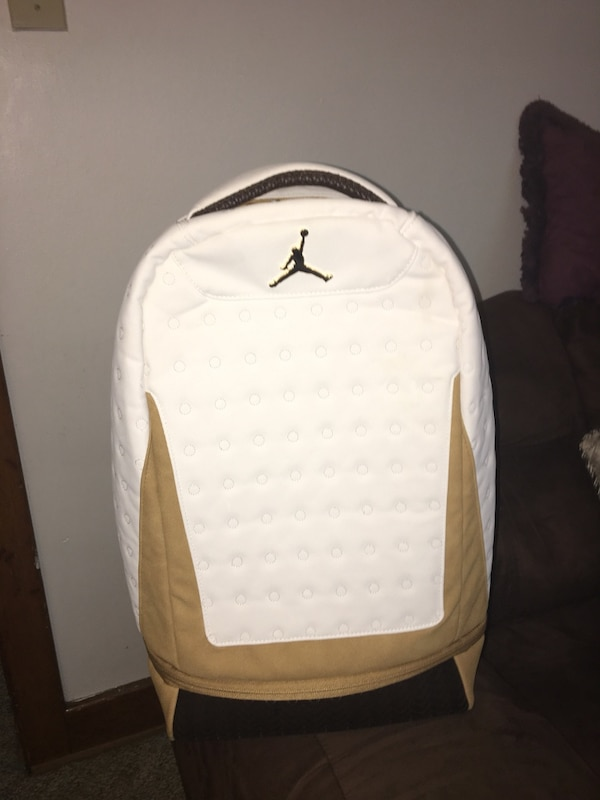 White leather gold canvas Jordan bag brand new never used