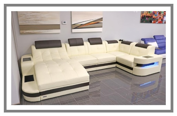 Incredible Leather Luxury Sectional Sofa Couch Smart Led Lights Usb Machost Co Dining Chair Design Ideas Machostcouk