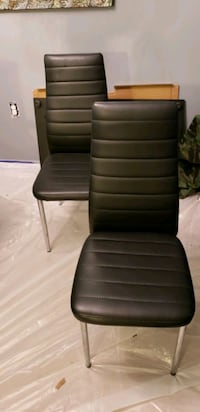 Set of 4 Black faux leathers dining chairs