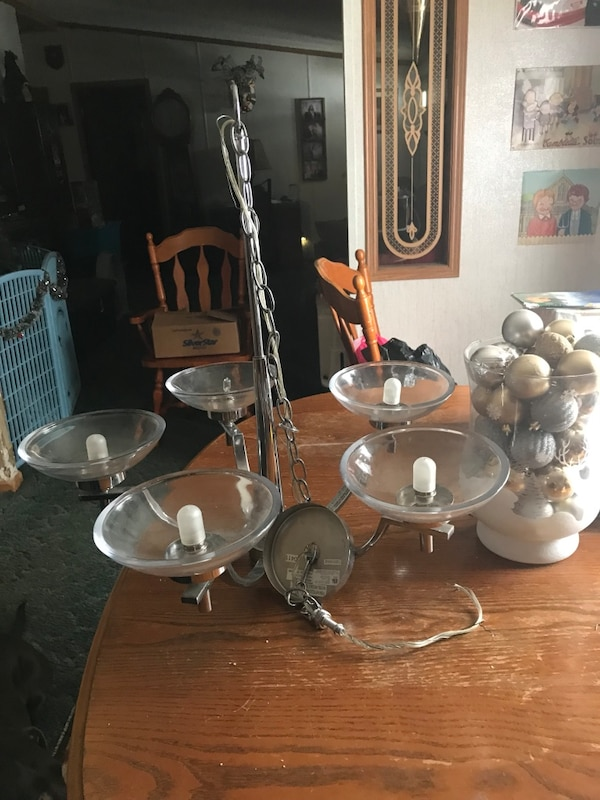 Stainless steel base with 5-head chandelier