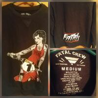 black and red Fatal Crew crew-neck shirt collage