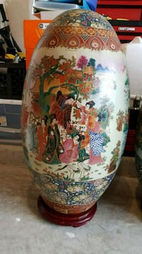 white, green, and red floral ceramic vase Ashburn, 20148