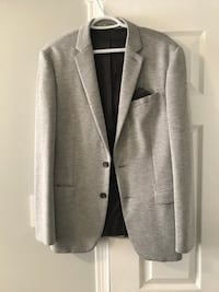 gray notch lapel suit jacket