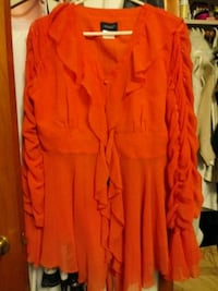 Women Orange ruffle blouse