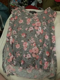 Women's gray and pink floral print blouse Terre Haute, 47802