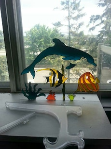 Dolphin stained glass art
