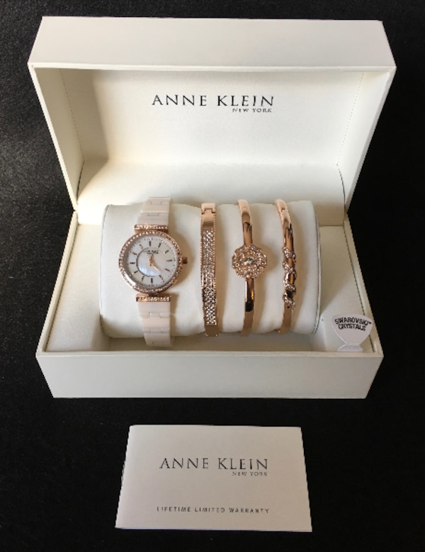 673484711 1/3. 1/3. Sold. Tap to see more pictures. Swipe to see more info. Anne  Klein 12/2274RGST Women's Ceramic Watch + Bracelet Set NEW!