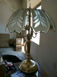 Glass and brass lamp
