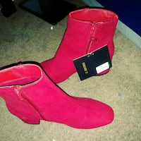 pair of red suede side-zip booties Washington, 20010