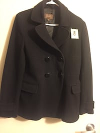 black double-breasted coat 786 km