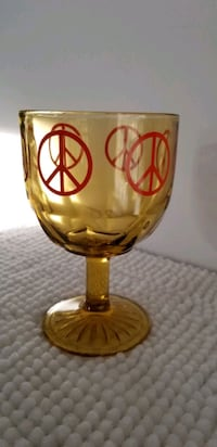 70s Vintage Peace Amber Glass Goblet cup St. Catharines, L2T 4B8