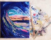 Wave canvas acrylic painting with resin  Toronto, M1M 2K2