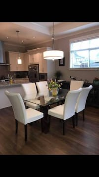 Rectangular Dining Table, with 6 white high back chairs Tsawwassen, V4M