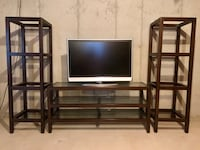 Solid wood 3 piece entertainment center.