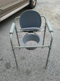 gray and white commode chair