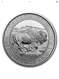 1 1/4oz 2015 Bison Silver Coin, New Chatham, N7M 3N9