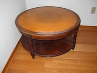 Round Leather Top Coffee Table Washington