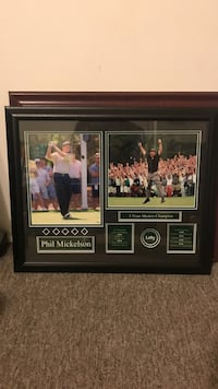 Phil Mickelson poster with black wooden frame