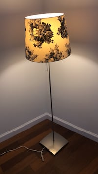 White and brown floral table lamp New York, 10005