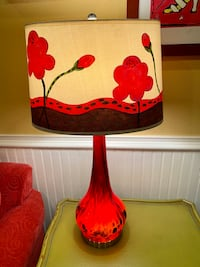 Red glass base lamp w hand painted shade
