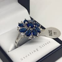 New blue sapphire silver ring size #11 Huntington, 11743