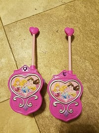 pink and purple two-way radio plastic toy