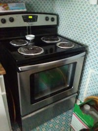 black and gray electric coil range oven