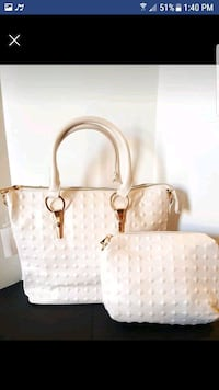 women's white and brown leather tote bag Brampton, L6R 0W2