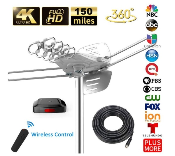 TV Antenna - 90% Pre-Assembled 150 Miles Range Outdoor Motorized 360  Degrees Amplified HDTV Antenna for 2 TVs Support - UHF/VHF 4K 1080P  Channels