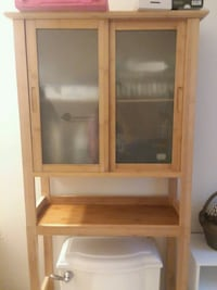 Brown wooden framed glass cabinet Crystal Lake