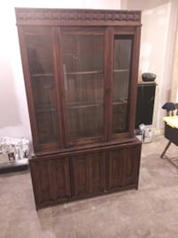 Cherry Oak Wood China Closet Baltimore