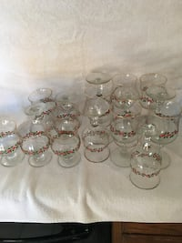 floral printed footed glass lot