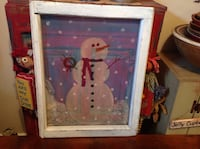 PRIMITIVE WINDOW SCREEN DECORATED WITH HAND PAINTED SNOWMAN Catasauqua, 18032