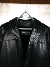 black leather zip-up jacket Reston, 20191