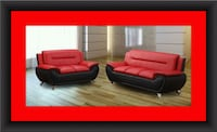 Red/black sofa and love seat 2pc set free delivery Temple Hills