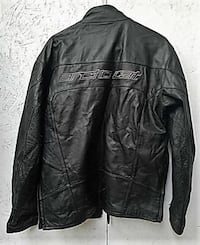 ARCTIC CAT Logo Full Zip Up Black Leather Jacket w/ Lining Men's Size M tall Meridian