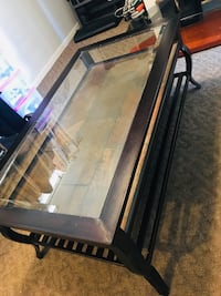 Coffee table .. metal amd slate with glass top.