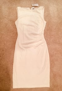 Gorgeous Cache Ivory Dress with Gold Zipper in Back Parma, 44129