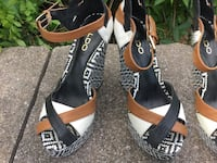 Aztec Black and White Print Heels with Brown, Black, and White Tops. Coatesville, 19320
