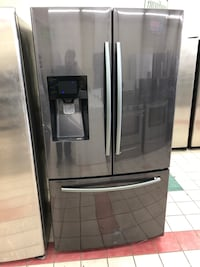36 x 70 black stainless steel Samsung French doors refrigerator it works great 100 days warranty  Baltimore, 21222