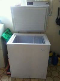 white and gray Haier compact refrigerator San Diego, 92116